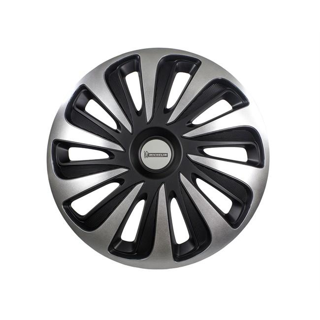 4 Enjoliveurs Gris/noir Michelin 3d Black Edition 15 Pouces