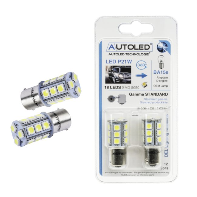 2 Ampoules 18 Leds Autoled P21w-ba15s Blanc