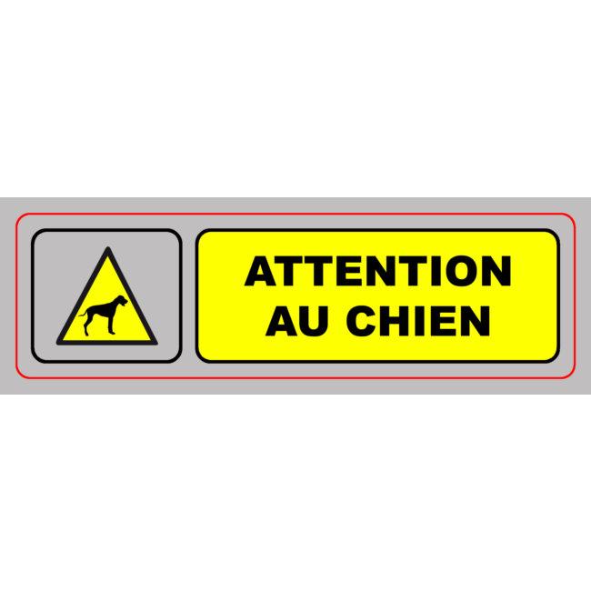1 Panneau En Pvc Avec Adhésif Attention Au Chien 170 X 50 Cm