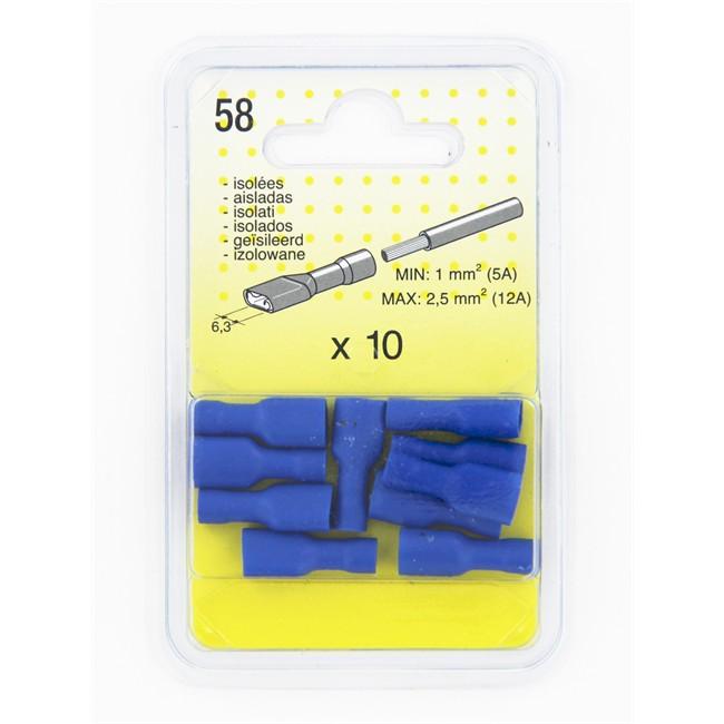10 Cosses Plates Isolées Bleues 6.3 Femelle