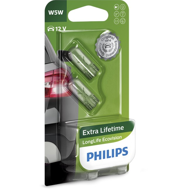 2 Ampoules Philips Longlife Ecovision W5w 5 W 12 V