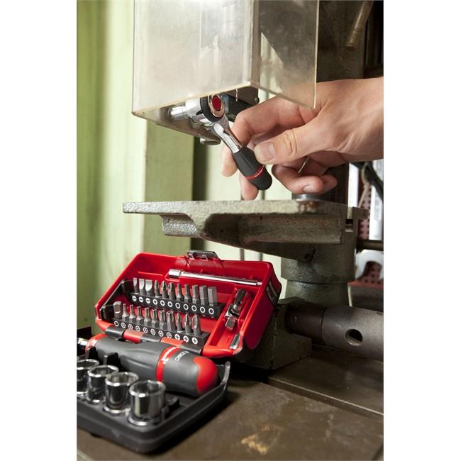 Outillage › Clé, cliquet, clé à bougie Coffret clé à cliquet carré 14'' + douilles 6 pans 5,5 14 mm FACOM R.360NANO 38 pièces