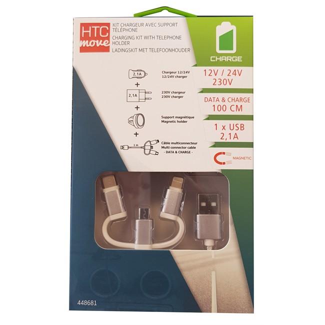 Chargeur Allume-cigare Htc + Chargeur 2,1 A + Câble 1 M + Support Magnétique