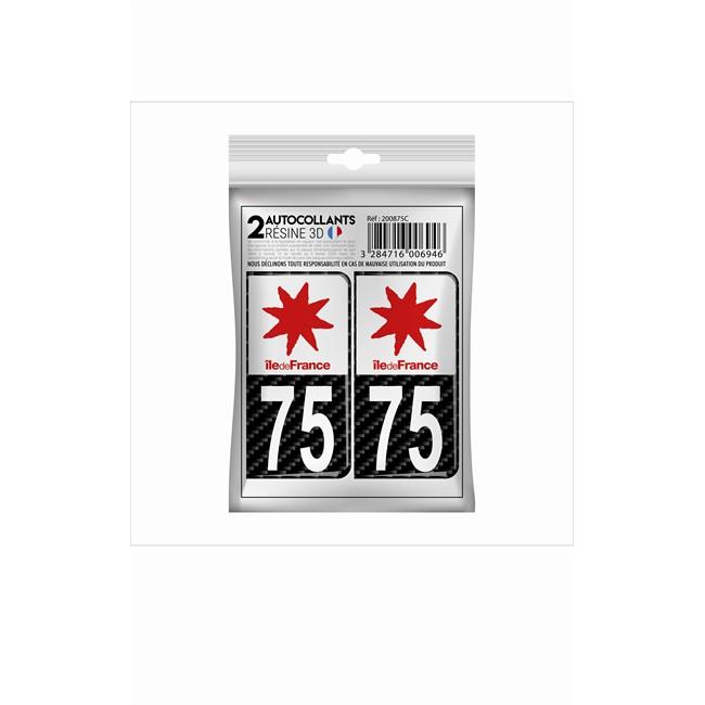 2 Stickers En 3d Effet Carbone Cadox Département Paris 75