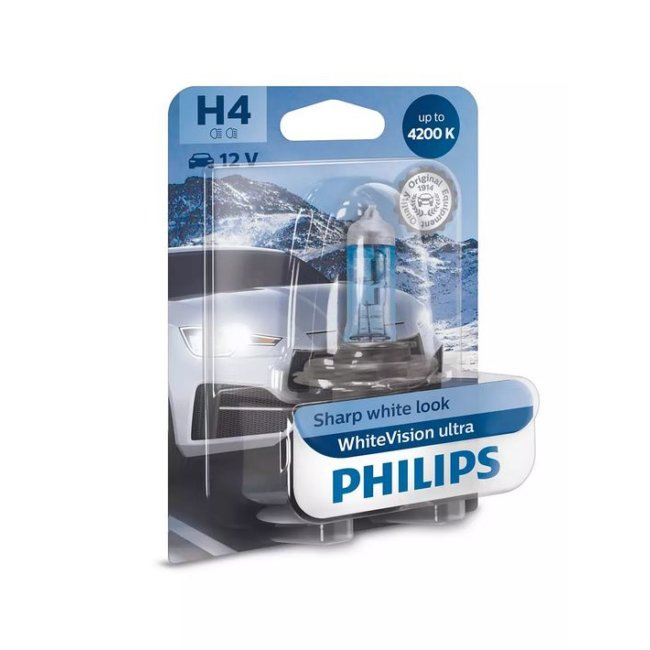 1 Ampoule Philips H4 Whitevision Ultra 12v 60/55w