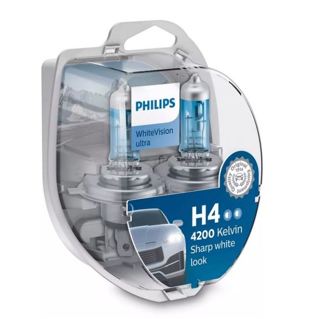 2 Ampoules Philips H4 Whitevision Ultra 12v 60/55w + 2 Ampoules W5w