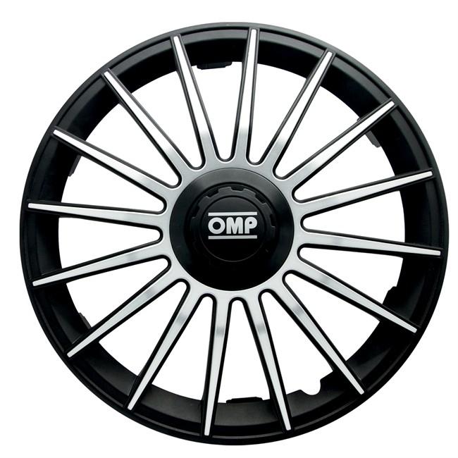 4 Enjoliveurs Noir/argent Omp Formula 14 Pouces